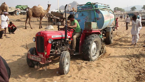 tractor stuck in sand Stock Video Footage