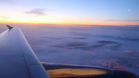 looking on earth and sky from airplane Stock Video Footage