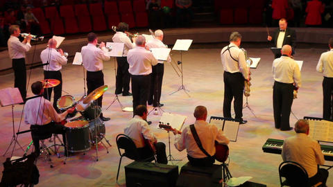 view on orchestra in circus Stock Video Footage