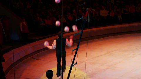 juggler during perfomance in circus Stock Video Footage