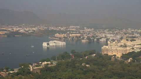 landscape with lake and palaces in Udaipur India - Stock Video Footage
