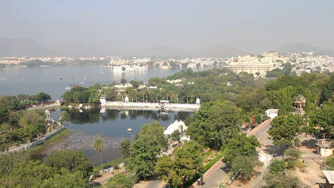view from funicular on lake and palaces in Udaipur Stock Video Footage