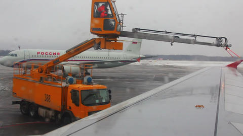 processing aircraft anti-icing in airport Stock Video Footage