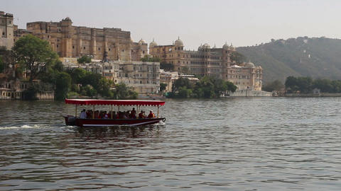 Pichola lake and palaces in Udaipur India Footage