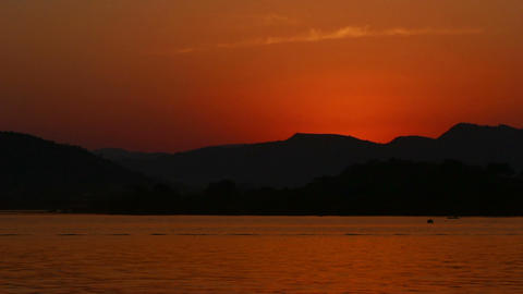timelapse sunset on lake - Udaipur India Footage