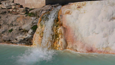 mineral waterfall in pamukkale turkey Footage