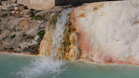 mineral waterfall in pamukkale turkey Stock Video Footage