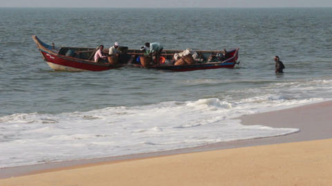 fishermen unload fresh catch of fish on beach - Ke Stock Video Footage