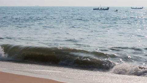 fishermen boats in sea - Kerala India Stock Video Footage