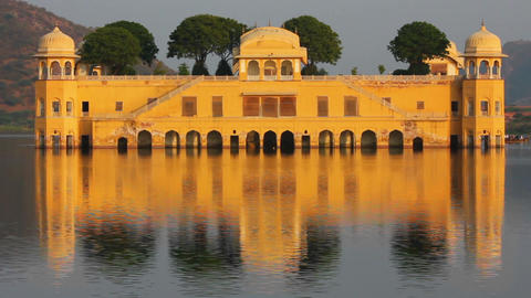 jal mahal - palace on lake in Jaipur India Stock Video Footage