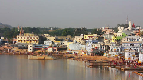 ritual bathing in holy lake - Pushkar India Stock Video Footage