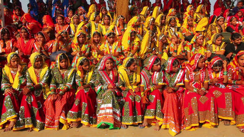 Indian girls in colorful ethnic attire at Pushkar  Footage