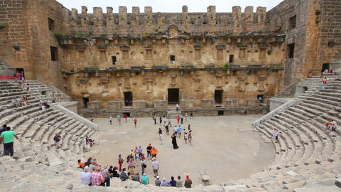 ancient amphitheater in Aspendos Turkey Stock Video Footage