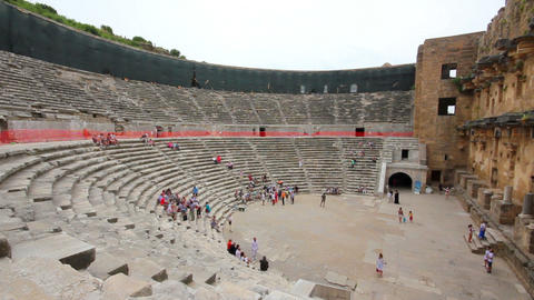 ancient amphitheater in Aspendos Turkey Footage
