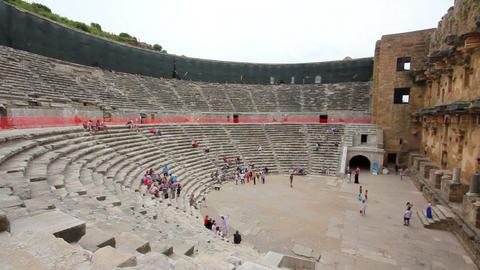 ancient amphitheater in Aspendos Turkey Stock Video Footage