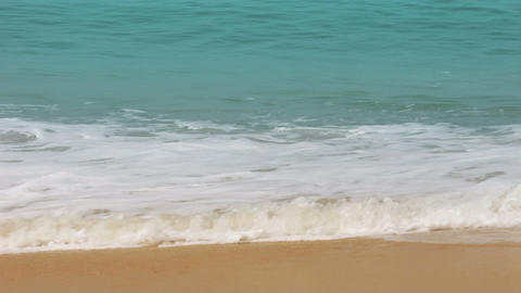 turquoise sea water waves and sand beach Stock Video Footage