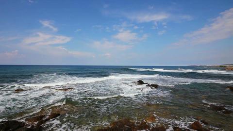mediterranean sea with waves landscape in Turkey Stock Video Footage