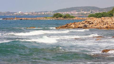 mediterranean sea with waves landscape in Turkey Footage