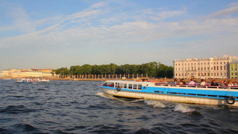 Neva river in St. Petersburg Russia - shooting fro Footage