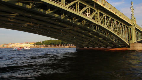 Trinity Bridge on Neva river in St. Petersburg Rus Footage