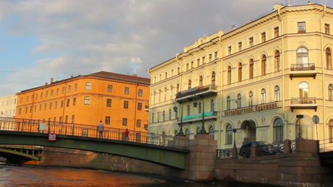 boat trip on canals of St. Petersburg - timelapse Stock Video Footage