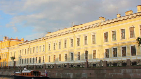 boat trip on canals of St. Petersburg - timelapse Footage