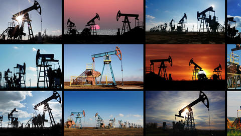 set of many working oil pumps Stock Video Footage