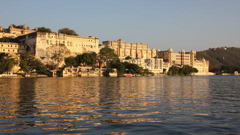 night follows day - palace on lake in Udaipur Indi Stock Video Footage