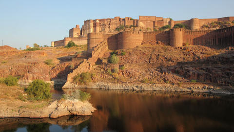 evening timelapse with fort and lake in Jodhpur In Stock Video Footage