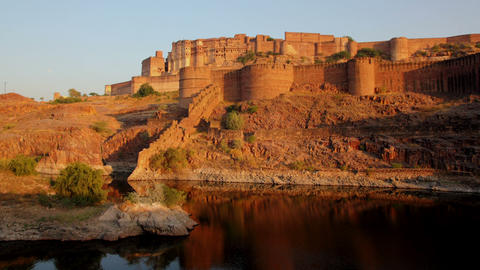evening timelapse with fort and lake in Jodhpur In Footage