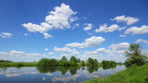 timelapse landscape with clouds over lake Stock Video Footage
