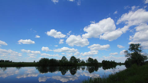 Timelapse Landscape With Clouds Over Lake stock footage