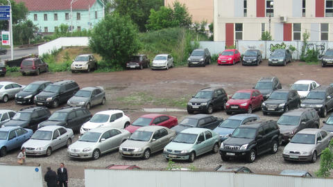 many cars coming to parking - timelapse Stock Video Footage