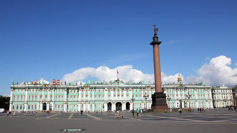 Hermitage and Palace Square in St. Petersburg - ti Stock Video Footage