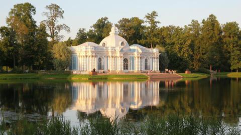 pavilion on lake, Pushkin park St. Petersburg Russ Footage
