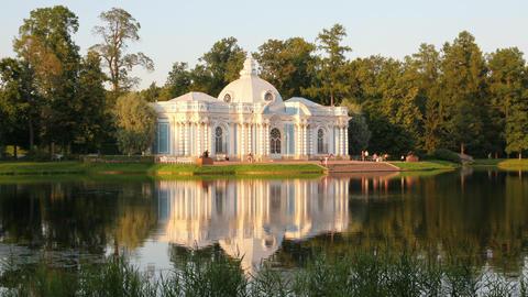 pavilion on lake, Pushkin park St. Petersburg Russ Stock Video Footage