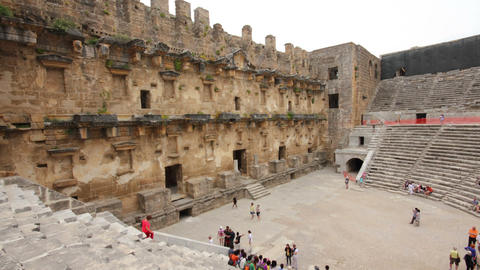 ancient amphitheater in Aspendos Turkey - hyperlap Stock Video Footage