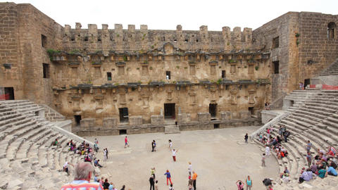 ancient amphitheater in Aspendos Turkey - hyperlap Footage
