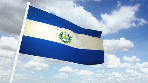 Flag Salvador 02 Stock Video Footage