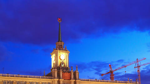Tower City Hall. Ekaterinburg, Russia. Time Lapse Stock Video Footage