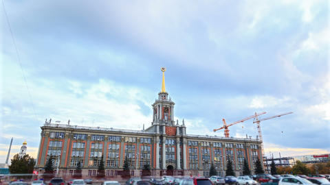 City Hall. Ekaterinburg, Russia. Time Lapse Footage