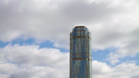 Skyscraper on a background of clouds Stock Video Footage