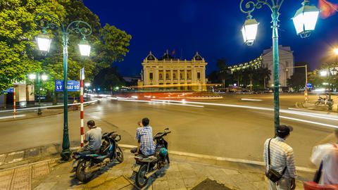 1080 - Hanoi Opera House - Time Lapse - Vietnam Stock Video Footage