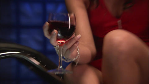 Sexy girl with a glass of wine Footage