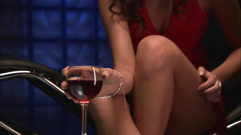 Sexy girl with a glass of wine Stock Video Footage