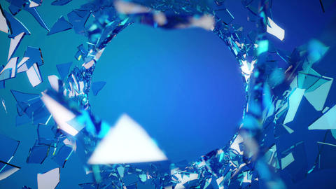 Cracked and Shattered blue glass with slow motion. Animation