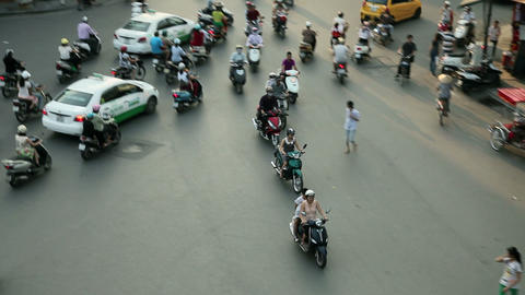 TRACKING HANOI TRAFFIC - HOAN KIEM DISTRICT Stock Video Footage