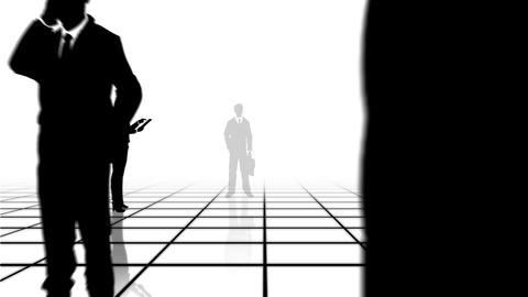 Black and white grid with business people Stock Video Footage