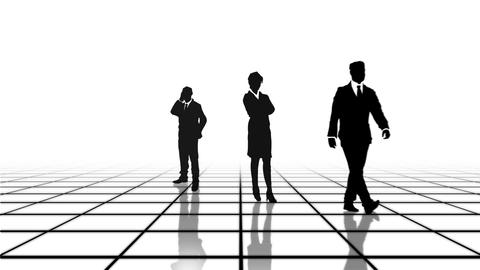 Black and white grid with business people Animation