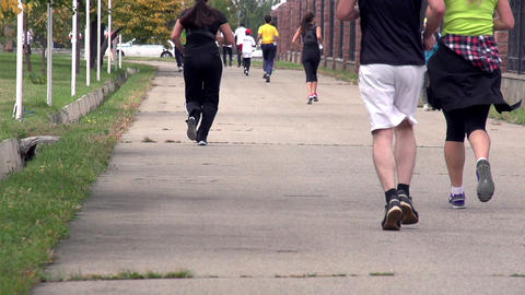 Jogging in the Park HD Stock Video Footage